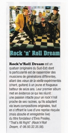 Cd en vente aux concerts, en envoyant mail : rockdream@orange.fr ou 0650323556 - ROCK 'N' ROLL DREAM